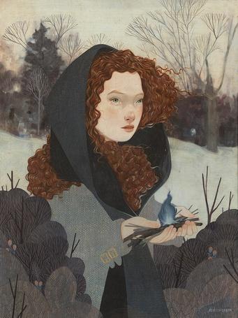 Фото Девушка с кучерявыми волосами в платке стоит в лесу с горящими веточками в руках, художник rebecca green