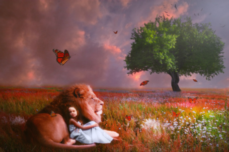 Фото Девочка и лев на цветочной поляне, работа ziongraphicdesign