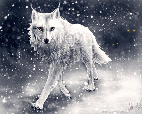 Фото Белый волк с янтарными глазами стоит под снегопадом, by Areot
