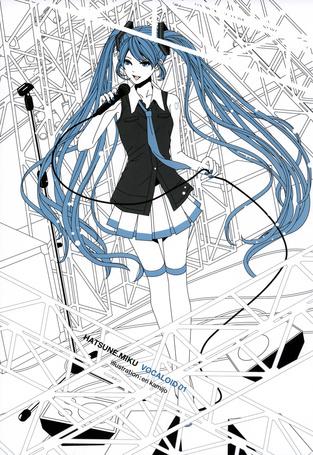 Фото Vocaloid Hatsune Miku / Вокалоид Хатсуне Мику поет с микрофоном, art by Eri Kamijou
