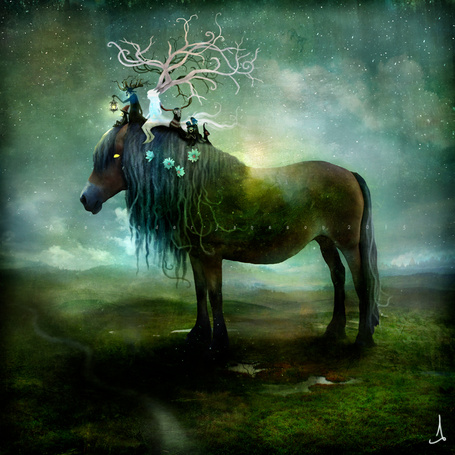 Фото Фантастическая лошадь со сказочными персонажами на ней, by AlexanderJansson