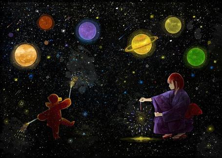 Фото Девочка и плюшевый мишка жгут фейерверки на фоне космоса