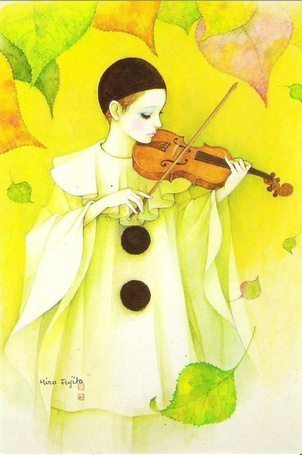 Фото Пьеро играет на скрипке под осенними листьями, art by Mira Fujita