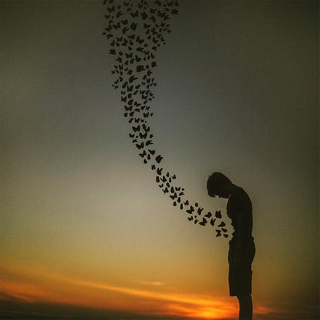 Фото Бабочки, вылетающие от грустного парня