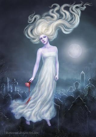 Фото Призрак девушки парящий над памятниками при лунном свете, by Marurenai