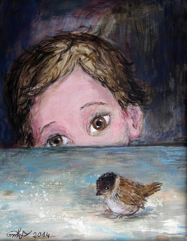 Фото Маленький мальчик смотрит на воробья, художник Нино Чакветадзе