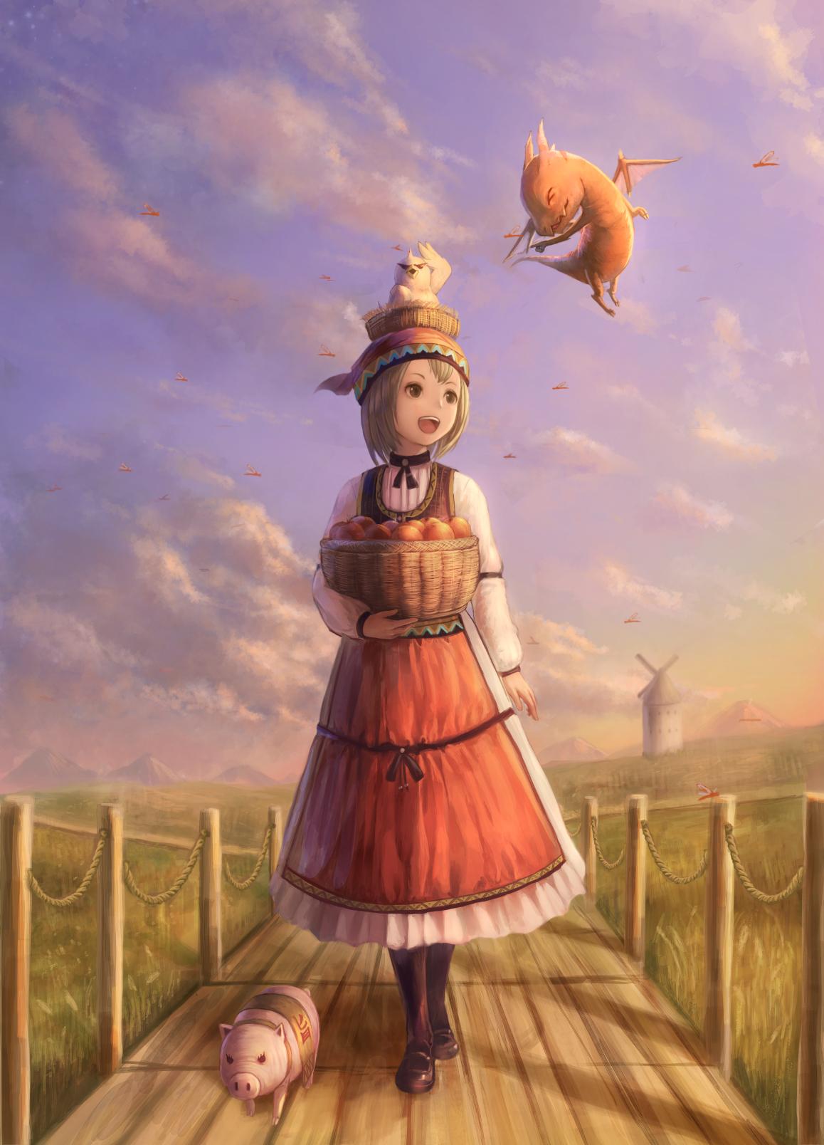 Фото Девочка с корзиной яблок, дракончик, птица и поросенок