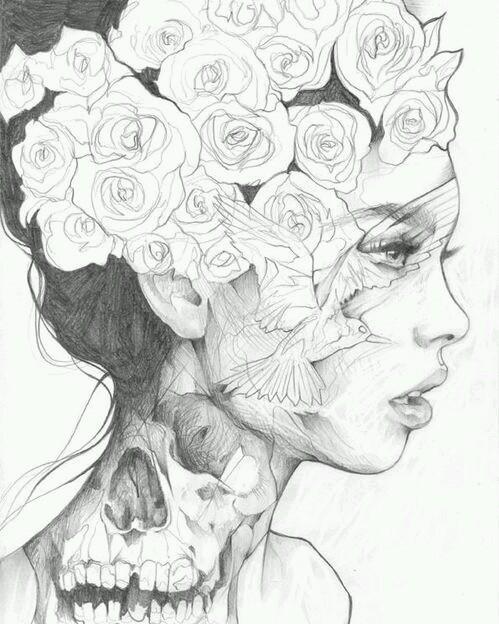 Фото Рисунок девушки с венком на голове, художник Danny OConnor