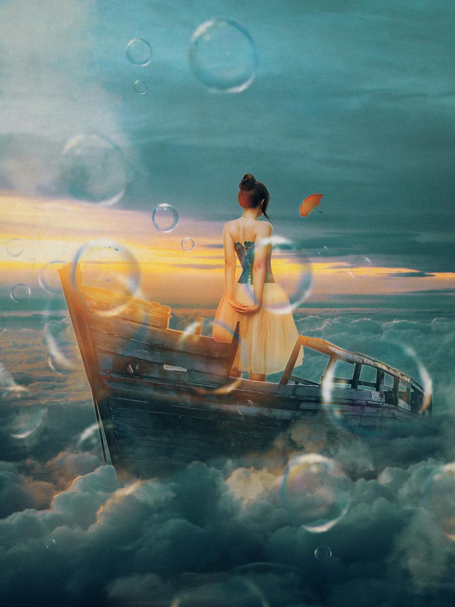 девушка в лодке арт