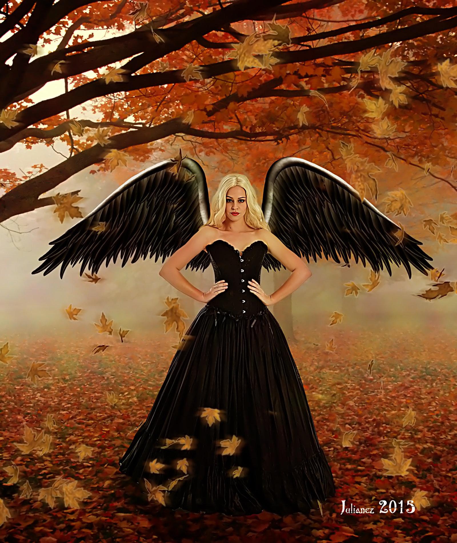 Фото Девушка - ангел в осеннем лесу, by Julian IbГЎГ±ez CosГn