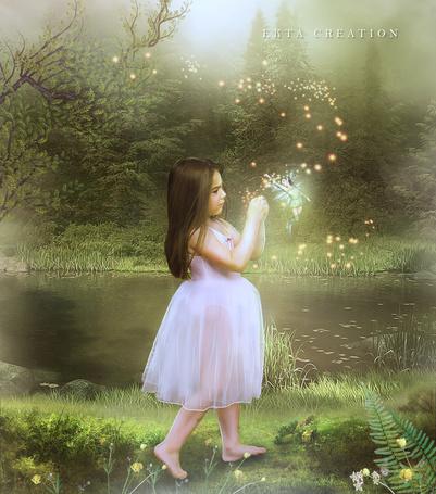 Фото Девочка и фея на берегу пруда, работа ektapinki