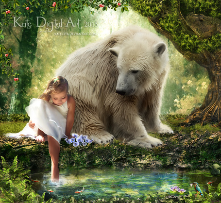 Фото Девочка и белый медведь на берегу пруда, работа Katecita