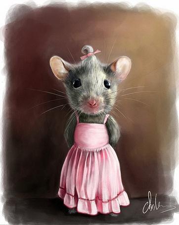 Фото Мышка в розовом сарафане и с розовым бантиком на голове, художник-иллюстратор Malgorzata Arska