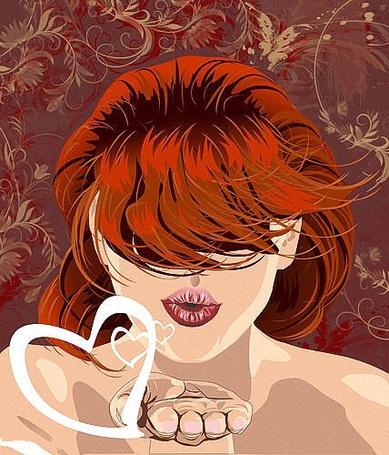 Фото Девушка с челкой закрывающей глаза, посылает с ладошки воздушный поцелуй в виде сердечек, иллюстратор Цепков Андрей
