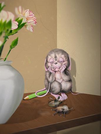 Фото Маленький мышонок плачет сидя в углу и смотрит на надоевшую игрушку лошадки, сделанной из желудей и спичек, художник Аджиев Борис