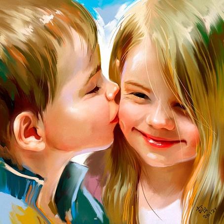 Фото Мальчик целует в щечку улыбающуюся девочку / первый поцелуй