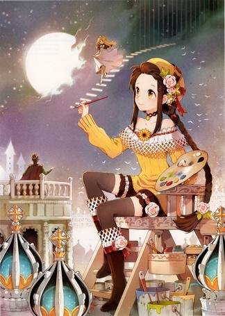 Фото Девочка с палитрой и кистью рисует ступеньки в ночном небе для девушки, которая идет к своему принцу, art by Nardack