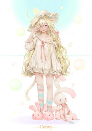 Фото Сонная неко-девушка с плюшевым кроликом