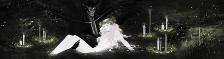 Фото Демон держит на руках мертвое тело девушки, стоя в пруду, вокруг горят свечи