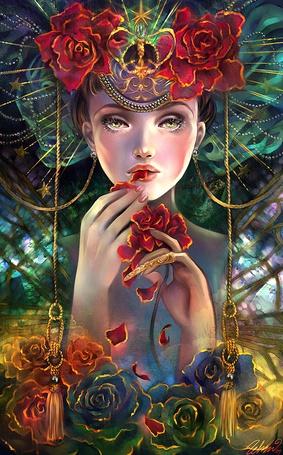 Фото Девушка в головном уборе, украшенном цветами, держит в руке красную розу и подносит к губам ее лепестки, вокруг нее абстракция и внизу ее множество роз, Schin Loongs Fantasy Art and Illustration