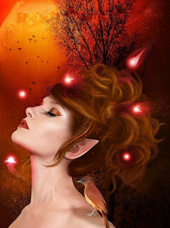 Фото Девушка эльф с закрытыми глазами подняла вверх голову, на фоне неба с летающими птицами, огромной желтой Луны, веток дерева, с летающими вокруг розовыми светлячками и сидящей у нее на плече птичкой, by Wood Elf, Fantasy Art and Fairies