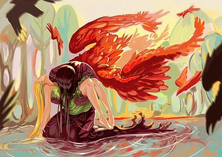 Фото Ангел с красными крыльями стоит на коленях в воде и держит на руках девушку с золотыми волосами, by TabithaLeighStucki