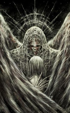 Фото Девушка в объятиях ангела смерти, art by NanFe