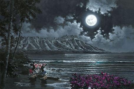 Фото Микки Маус и Минни целуются на берегу океана ночью