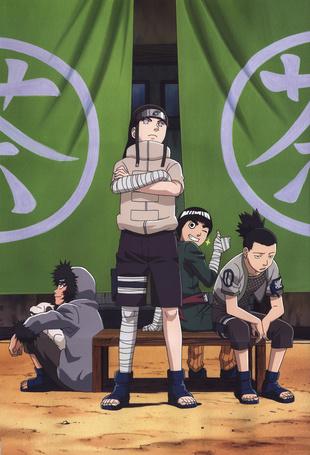 Фото Neji Hyuuga, Shikamaru Nara, Kiba Inuzuka и Rock Lee из аниме Naruto / Наруто, art by Masashi Kishimoto
