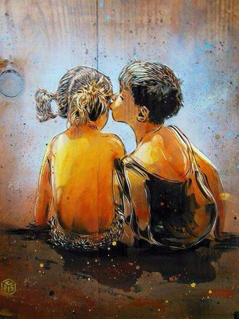 Фото Мальчик целует девочку, художник Christian Guemy
