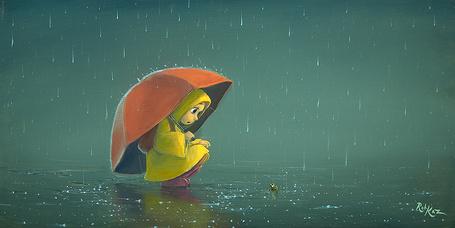Фото Девочка с зонтиком и лягушка