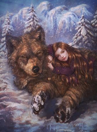 Фото Девочка лежит на сером волке, by Perla Marina
