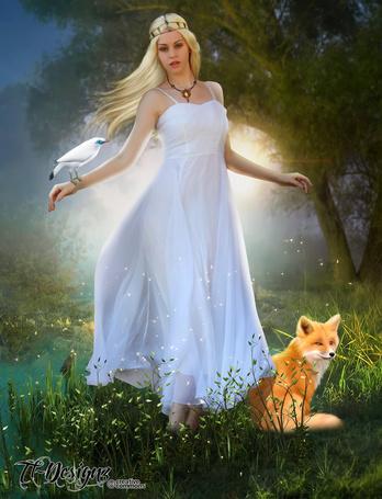 Фото Девушка в белом платье с птицей на руке, стоит возле рыжей лисицы, by Tl Designz