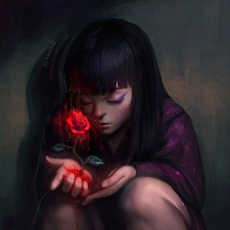 Фото Плачущая девушка склонилась над кровавой розой растущей у нее из руки, by Ayya Sap