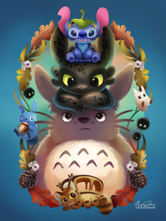 Фото Kittenbus / Котобус и Totoro / Тоторо из аниме Мой сосед Тоторо / My Neighbor Totoro, Ночная Фурия (Беззубик) / Night Fury (Toothless) из мультфильма Как приучить дракона / How to Train Your Dragon и Стич / Stich из мультфильма Лило и Стич / Lilo and Stitch, art by TsaoShin