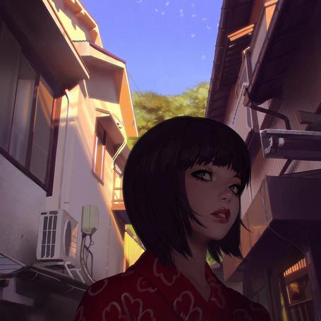 Фото Девушка на фоне города, ву Илья Кувшинов