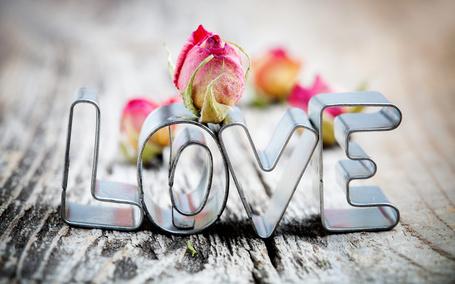 Фото Розы и надпись LOVE / ЛЮБОВЬ