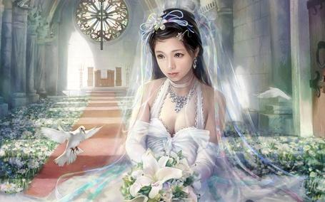 Фото Девушка-азиатка в часовне в белом платье, белой фате с букетом белых лилий сидит на полу, рядом порхают голуби, художник - иллюстратор Лин и-Чен