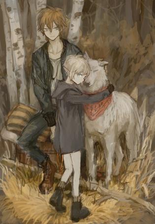 Фото Маленький эльф обнимает белого волка