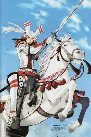 Фото Nagamasa Azai верхом на белом коне, аниме Sengoku Basara / Эпоха Смут, art by Hitaki
