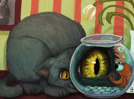 Фото Аквариум с водой увеличивает размеры глаза заглядывающей кошки, на нее смотрит большими глазами рыбка, by kedemel