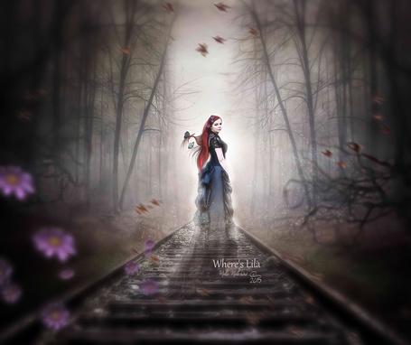Фото По железнодорожному пути уходит вдаль девушка привидение, Weres Lila