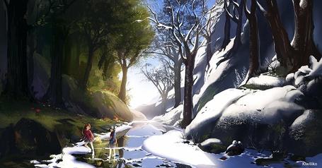 Фото Девушка и парень переходят ручей с берега, на котором зима, на берег с летом, by kiwiliko