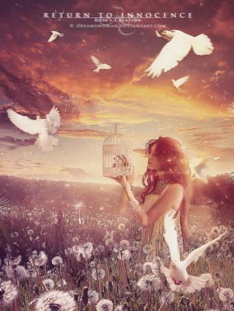 Фото Девушка с клеткой и белые голуби (Return to Innocence), by dreamswoman