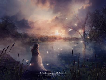 Фото Девочка возле пруда (Softly Dawn), by dreamswoman
