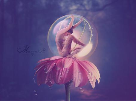 Фото Девушка в прозрачном шаре сидит на розовой гербере в каплях росы, by Manon-M