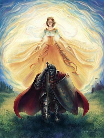 Фото Рыцарь привстав на одно колено, опираясь на меч, клянется в верности воображаемому образу девушки, автор Bereginya