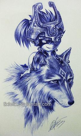 Фото Девочка, в шлеме воина на голове, сидит сверху на волке, by TixieLix
