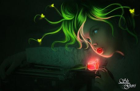 Фото Голубоглазая девушка с прядями зеленых волос, которые держат летающие желтые бабочки, протянула руку к светящемуся цветку алой розы, by GORI89