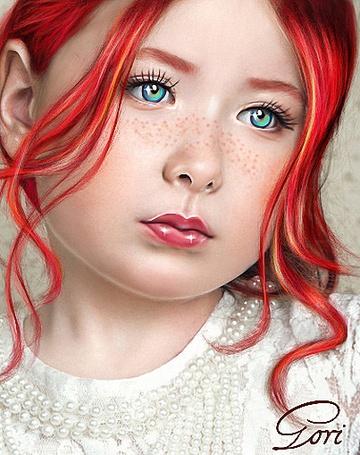 Фото Девушка с глазами цвета морской волны, с красными волосами, с веснушками на носике и под глазами, by GORI89